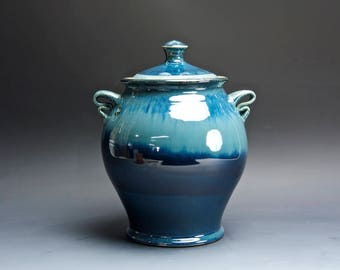 Handmade extra large pottery cookie kitchen storage jar dark to light blue 4010