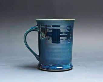 Pottery coffee mug, ceramic mug, stoneware tea cup navy blue 14 oz 4017