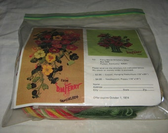 Vintage 1973 Hanging Nasturtiums F M Ferry 6329-5C Crewel Embroidery Kit