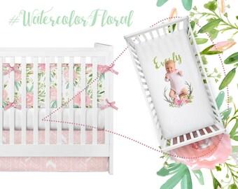 Watercolor Floral Crib Bedding, Girl Baby Bedding Nursery Crib Set, Pink Blush Peach Feather Herringbone Antlers Personalized Crib Sheet