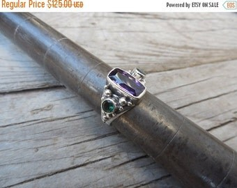 ON SALE Purple and green amethyst ring handmade in sterling silver