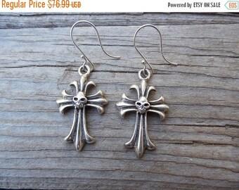 ON SALE Cross earrings handmade in sterling silver