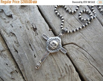 """ON SALE Beautiful cross handmade in sterling silver with a skull in the center and 24"""" 5mm bead chain"""