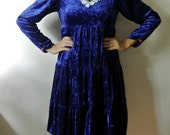 50% off cyber monday sale Vintage Blue Velvet Dress Blue Grunge Baby Doll Dress with Lace Flower Details Size Small Medium Gift For Her