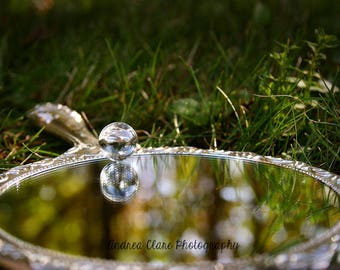 Mirror Photograph , Snow White, Reflection, Fine Art Photograph, Whimsical, Shabby Chic, hand mirror, looking glass, nature, photo, print