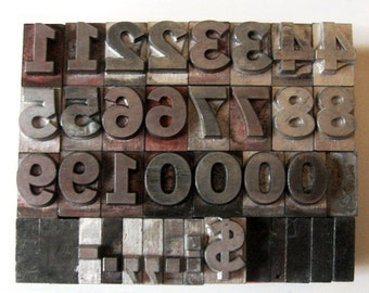 ON SALE Vintage Metal Letterpress Med Lg Number Set Complete