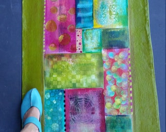 Custom- Chartreuse Abstract- Salt Spring Floor Art