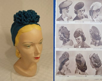 Sears Has the Latest Hats - Vintage WW2 1940s Handmade Teal Blue Wool Yarn Pill Box Turban Hat