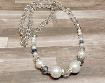 Clear Beaded Necklace - OOAK - Statement Necklace