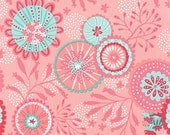 Coral Queen of the Sea Sand Dollar Print in Pink and Aqua by Stacy Iest Hsu for Moda