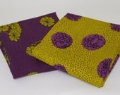 Bundle of 2 Falling Flowers & Mum Prints in Clover and Plum from Haiku Collection , by Moda