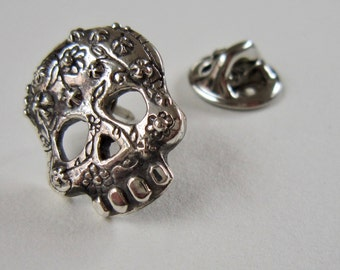 Sugar Skull Pin, Casual Cool, Silver, Pretty little Flower Skull, Handmade, Unique gift