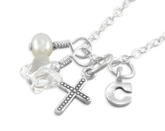 Tiny Cross Necklace, Sterling Silver, Baby Necklace, small silver cross, baptism necklaces, christening gift, butterfly, CAMILLE