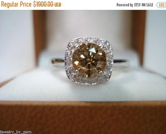 ON SALE Champagne Brown Diamond Engagement Ring 1.10 Carat 14K White Gold HandMade Halo