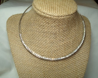 1989 Silver Tone Rhinestone Choker Necklace.