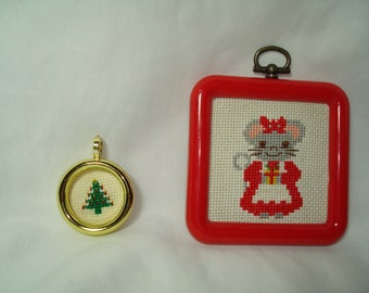 1980s Handmade Cross Stitched Christmas Mouse and Tree Ornaments.