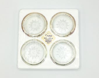 Unused Silver & Glass Vintage Coasters, Set of Four, Leonard Italy, New Old Stock,