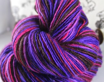 Handspun Yarn Gently Thick and Thin DK Single Blue Faced Leicester 'Violet Hill' Sweet Georgia Yarn