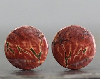 Jasper Cabochon Pair, High Quality Natural Stones Flat Back Bezel Edge Gemstones - Wire Wrap Lessons & Beading Gems (20240)