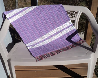 "Hand Woven Rag Rug: Purple and White Cotton Chenille 26"" X 37"""