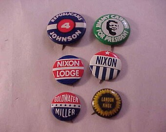 6 Political Campaign Pins Pin Back Buttons Nixon LBJ Carter Goldwater Landon