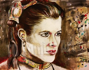 Princess Leia print, watercolours comics art prints star wars art, comics poster, comics art, Princess Leia prints, Force Awaken