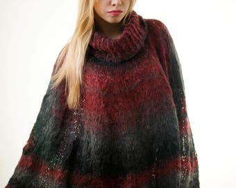 Plus Size Ombre Poncho Plus size Sweater Multicolor Oversize Sweater Full Figure Sweater Curvy sweater Cardigan Tunic