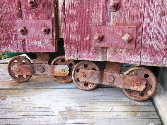 Two Antique Barn Door Rollers Frantz Wheels W Barn Wood