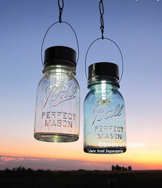 Hanging Solar Mason Jar Lids 2 Garden Upcycled Mason Jar Solar Lights with Hangers, No Jars