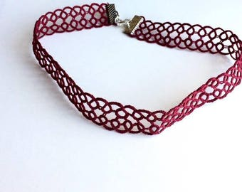 Burgundy Lace Choker, Burgundy Necklace, Red Choker, Red Necklace, Purple Choker, Purple Necklace, Lace Choker, Lace Necklace