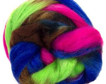 "Space Dyed Wool for Spinning or Felting ""Mercury""  100 Grams"