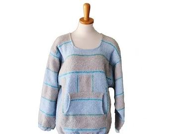 60% off sale // Vintage 1980s Blue and Gray Poncho - Women M - 80s Stripes, surfer, boho, beach bum