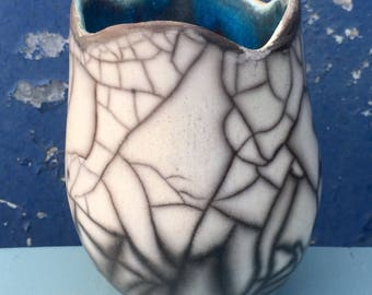 Sea & Cliffs Raku Ceramic Pot
