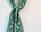 Vintage 1960s Oblong Acetate Scarf with Reversible Floral and Paisley Print