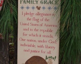 Clark Griswold, Pledge Of Allengiance, Christmas, Wood Wall Sign, Subway Art,Typography,
