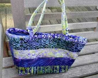 Large Purple and Green Batik Handbag/Shoulder Bag