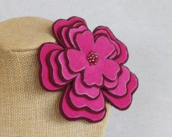 Flower Brooch in Raspberry Velveteen