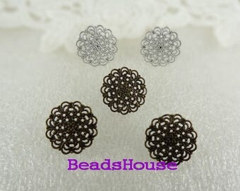 20%off ER-15M  - 10Sets ( 5pairs) Earring Posts With 15mm Filigree And Back Stoppers.Nickel Free