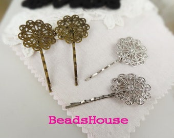 20%Off HC-41-32AT  ( 50mm Long x 30mm Pad )Antique Bronze Hair Clip w/ Filigree, Nickel Free