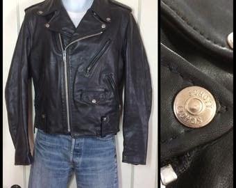 1980's Schott NYC black quality soft leather Motorcycle Jacket size 38 Medium with lace-up sides satin lining biker punk rocker grunge boho