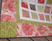RESERVED Simply POPPIES 54x60 quilt in pink, green and black
