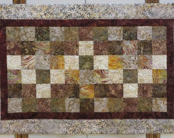 Quilted Batik Table Runner creams browns earth tones