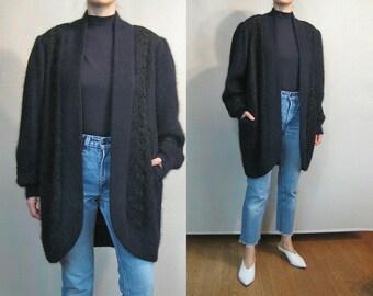 Embroidered ANGORA Rabbit Hair Sweater Coat