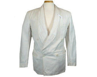 40/42 Vintage 1920s White Linen Dinner Jacket, Double Breasted Ventless Gatsby Unlined Jacket, MC13
