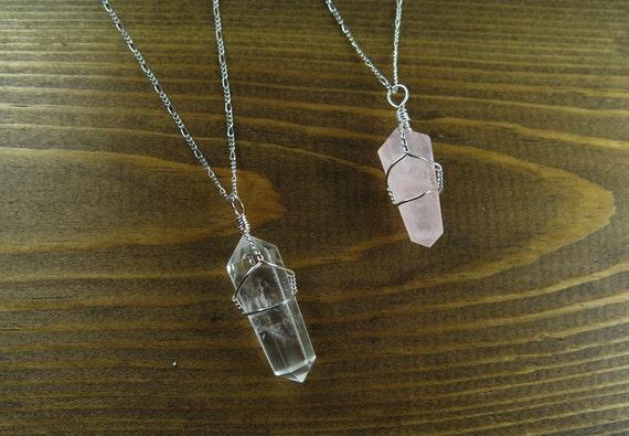 Wire Wrapped Quartz Point Pendant Necklace - Clear Quartz and Rose Quartz