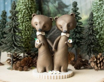 Bear Grooms - Brown Bear Wedding - Gay Wedding Cake Topper by Bonjour Poupette