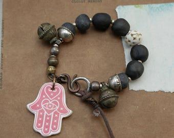 Kismet - Black Kuchi Bracelet - Boho Bells - Nomad Hippie - Ethnic Rustic -Hamsa