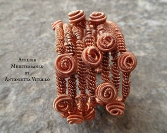 Wire Wrapped Copper Cuff Flourished Bracelet.