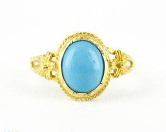 Vintage Turquoise Glass Ring, Plumeria Flower Design in 9 Carat Yellow Gold. Pretty Floral Style Ring.