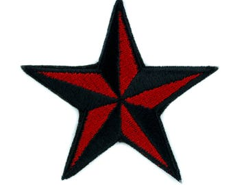 Red Nautical Star Patch Iron on Applique Alternative Clothing Tattoo Rockabilly - YDS-EMPA-048-RED-Patch